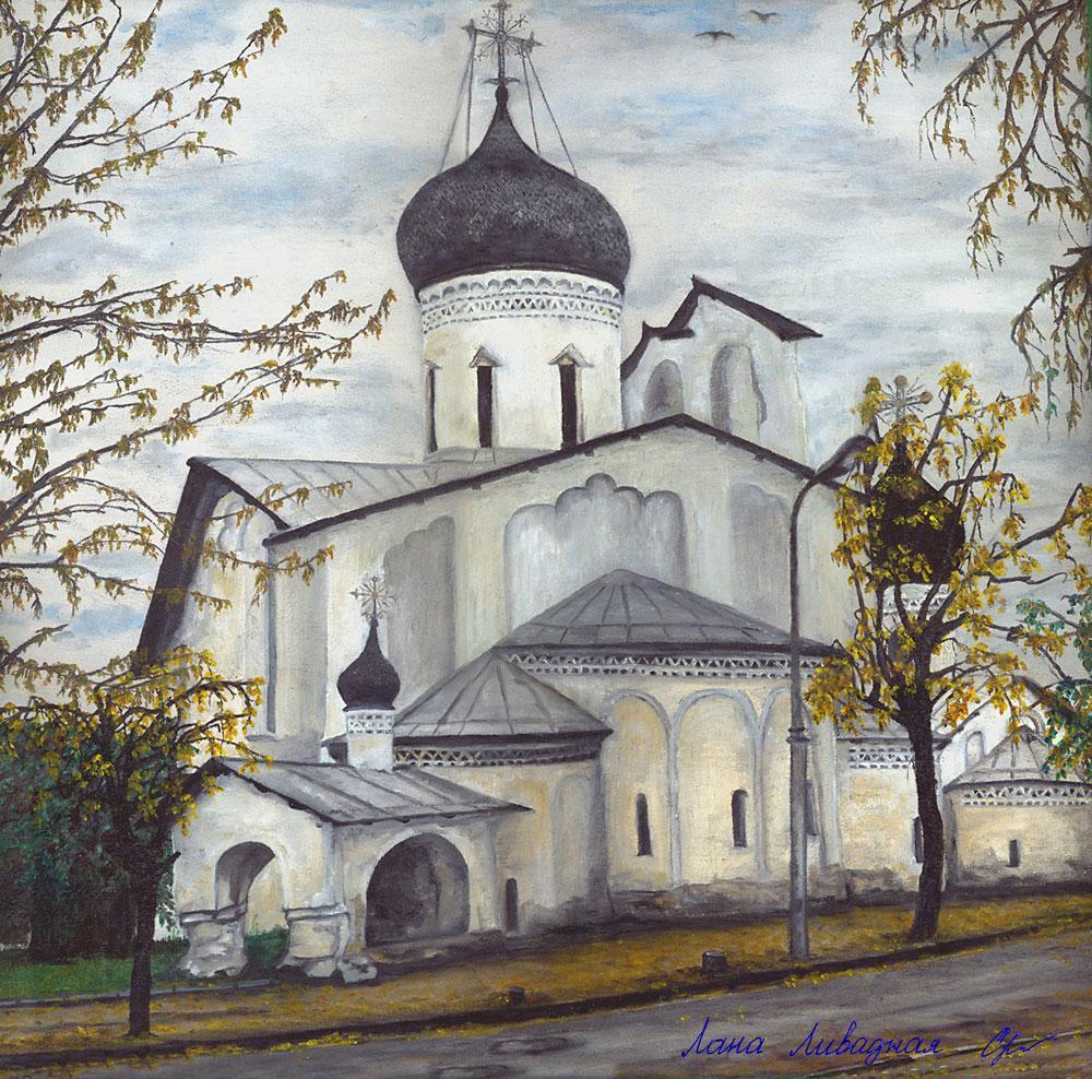 """""""Церковь Николы со Усохи"""", Псков, холст, масло."""