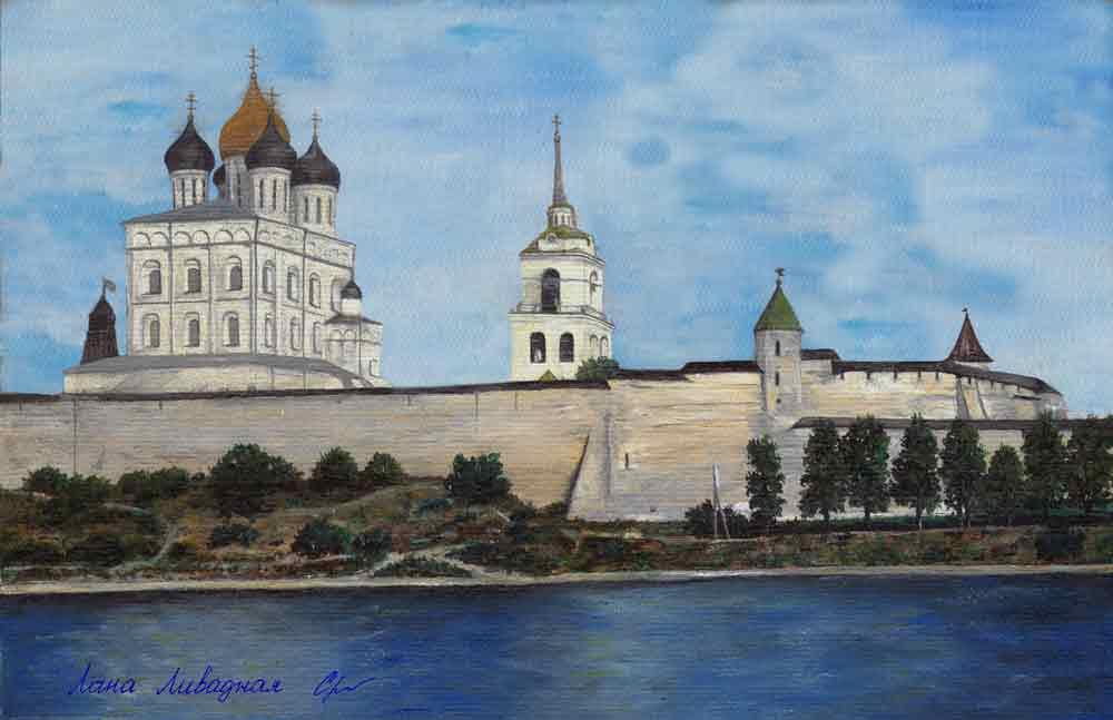 «Псковский кремль», холст, масло.