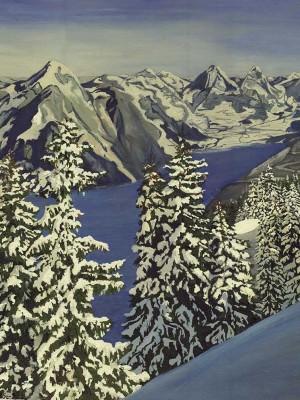 Зима в горах, двп, масло.